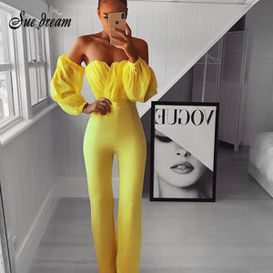Off The Shoulder Chiffon Long Sleeve Jumpsuit