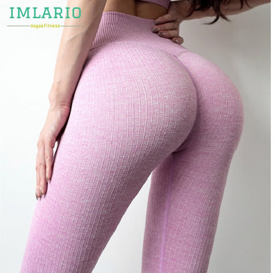 Stretchy Ribbed Comfy High Waist Active  Leggings