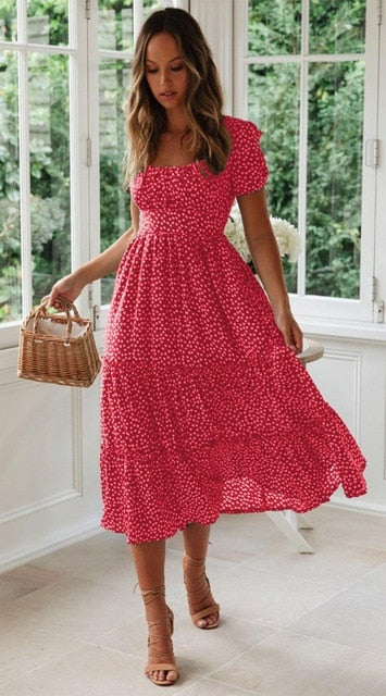 Short Sleeve Floral Boho Dress