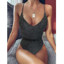 Load image into Gallery viewer, Stylish One Piece Belted Swimsuit