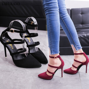 Strappy Pointed Toe Heels