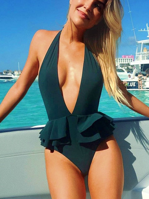 One Piece Deep V Neck Ruffle Swimsuit
