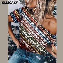 Load image into Gallery viewer, Skew Neck Short Sleeve Striped Sequined Shirt