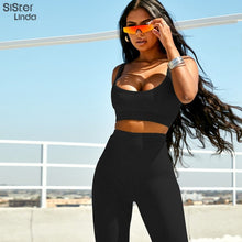 Load image into Gallery viewer, Workout Set Cotton Ribbed Fitness Sports Bra & High Waist Leggings