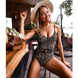 Stylish One Piece Belted Swimsuit