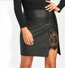 Load image into Gallery viewer, Faux Leather Slit Lace Detail Mini Skirt