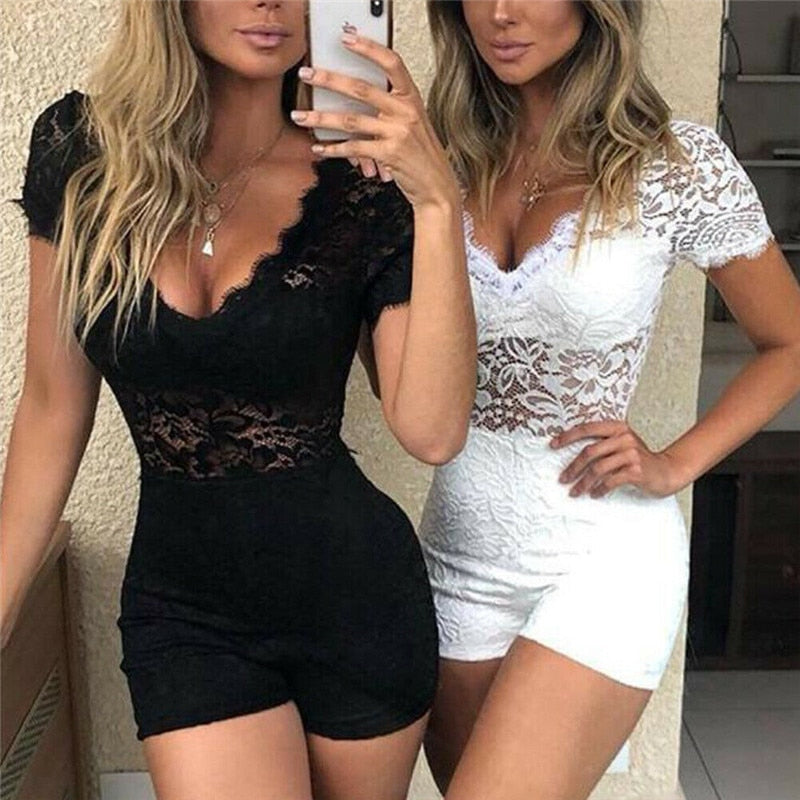 Sheer Lace Floral V Neck Short Sleeve Bodycon Jumpsuit