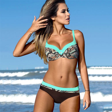 Two Piece Push Up Print Swimwear  Bikini Set
