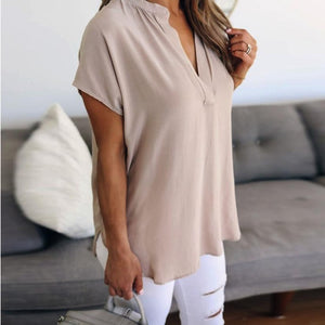 V-Neck Solid Short Sleeve Casual Top