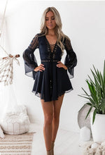 Load image into Gallery viewer, Long Sleeve Lace Up Mini Dress