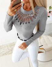 Load image into Gallery viewer, Elegant Long Sleeve Top With Beading Design