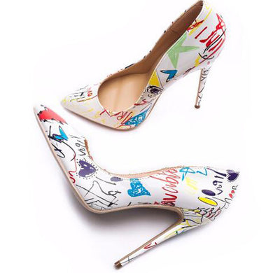 Graffiti Design Pointed Toe Stiletto Heels