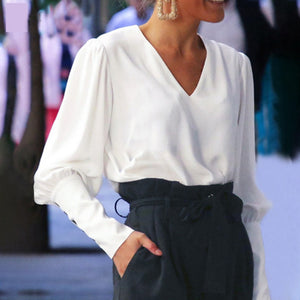 Elegant V-Neck Button Up Back Long Sleeve Top