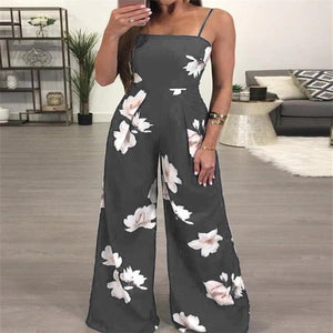 Floral Print Sleeveless Fashion Jumpsuit
