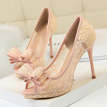 Load image into Gallery viewer, Bow Tie Lace Peep Toe Heels