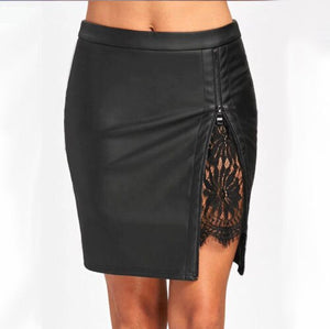 Faux Leather Slit Lace Detail Mini Skirt