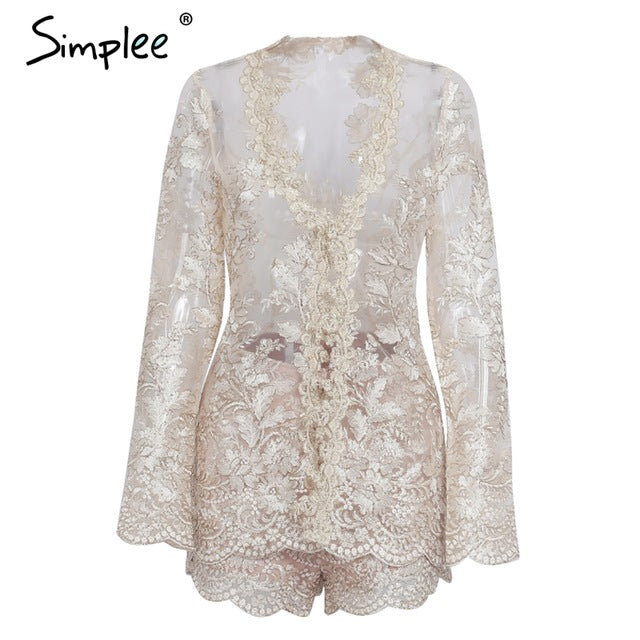 Long Sleeve Sequin Lace Embroidery Romper Jumpsuit