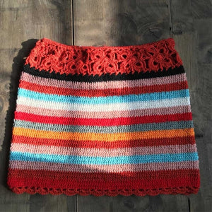 Rainbow Crochet Mini Skirt