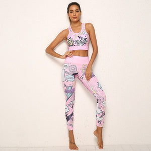 2 Piece Workout Set Cartoon Print