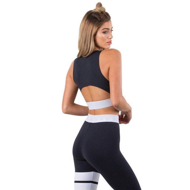 Fitness Sports Bra & High Waist Striped Leggings Two Piece Set