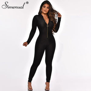 Bodycon  Long Sleeve Front Zipper Jumpsuit