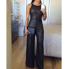 Load image into Gallery viewer, Elegant Sequins Sleeveless Wide Leg Jumpsuit