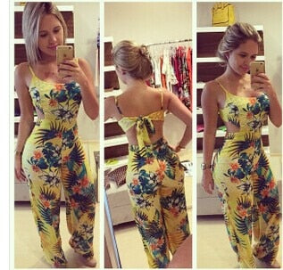Yellow Jumpsuit, Backless Bodycon