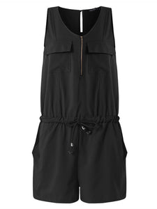 Sleeveless Casual Front Zipper Romper with Pockets