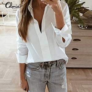 Elegant Collared V Neck Long Sleeve  Blouse Top also in Plus Size