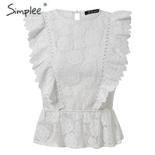 Load image into Gallery viewer, Lace Embroidery Sleeveless Ruffle Top