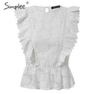 Lace Embroidery Sleeveless Ruffle Top