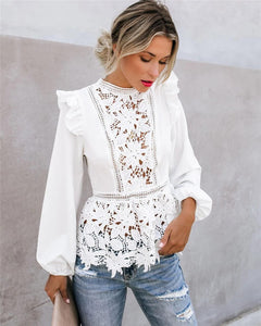Long Sleeve Floral Lace Top