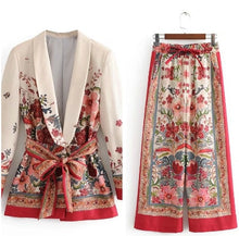 Load image into Gallery viewer, Vintage Print Suit Belted Blazer With Wide Leg Pant