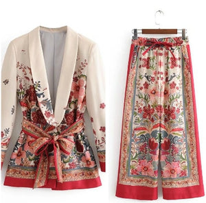 Vintage Print Suit Belted Blazer With Wide Leg Pant