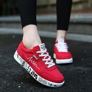 Woman Running Shoes Breathable Red Training Footwear
