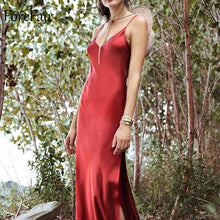 Load image into Gallery viewer, Maxi Satin Dress