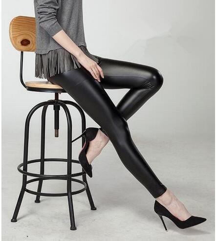 High Waist Faux Leather Leggings also in Plus Size