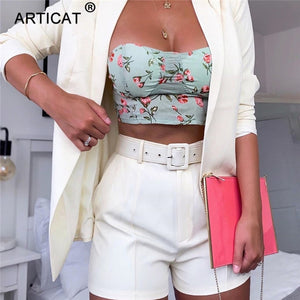 Two Piece Set Suit Blazer and Belted Shorts