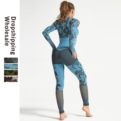 Print Anti Cellulite Leggings Workout Set