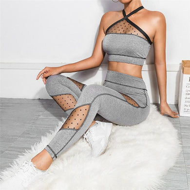 Two Piece Sports Sexy Mesh Fitness Tracksuit
