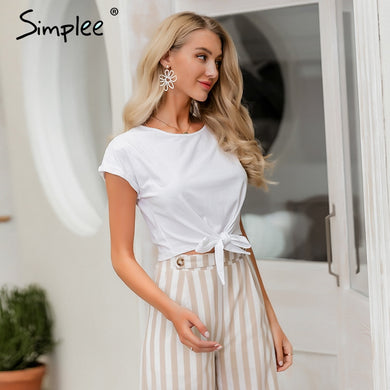 Casual Comfy Cotton Tied T-Shirt Top