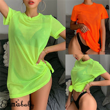 Load image into Gallery viewer, Neon Sheer Mesh Short Sleeve Bikini Cover Up