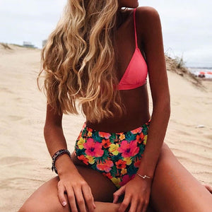 Two Piece Polka Dot High Waist Bathing Suit