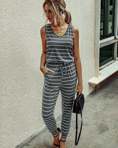 Sleeveless Drawstring Casual Comfy Jumpsuit with Pockets