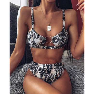 Sexy Two Piece Animal Print High Waist Bikini