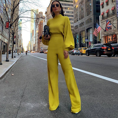 Bell Long Sleeve Turtleneck Wide Leg Jumpsuit