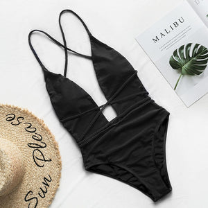 Sexy One Piece Deep V Neck Monokini