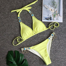 Load image into Gallery viewer, Two Piece Rhinestone Bikini