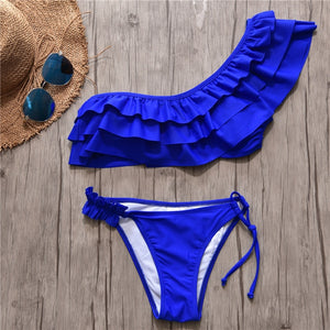 One Shoulder Ruffle Bathing Suit