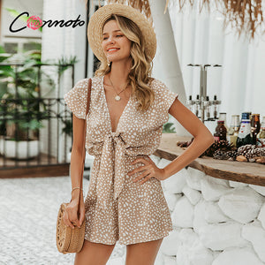 Casual Short Sleeve Bow Polka Dot Romper Jumpsuit